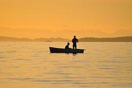 어업, 선셋, 브리티시 컬럼비아, 물고기를 잡는, 골든 스카이, 실루엣