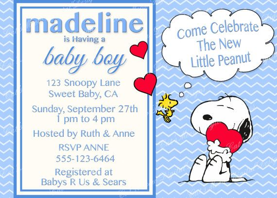 Snoopy Peanuts Baby Shower Invitation Digital Printable Baby Boy