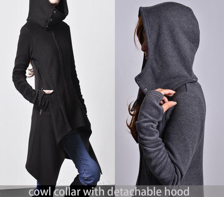 Wanderer - thick cotton fleece jacket / asymmetrical hoodie jacket / cowl neck lined parka coat / gray sport jacket (Y1528) by idea2lifestyle on Etsy https://www.etsy.com/listing/263370288/wanderer-thick-cotton-fleece-jacket