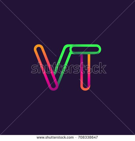 initial logo letter VT, linked outline rounded logo, colorful initial logo for business name and company identity.
