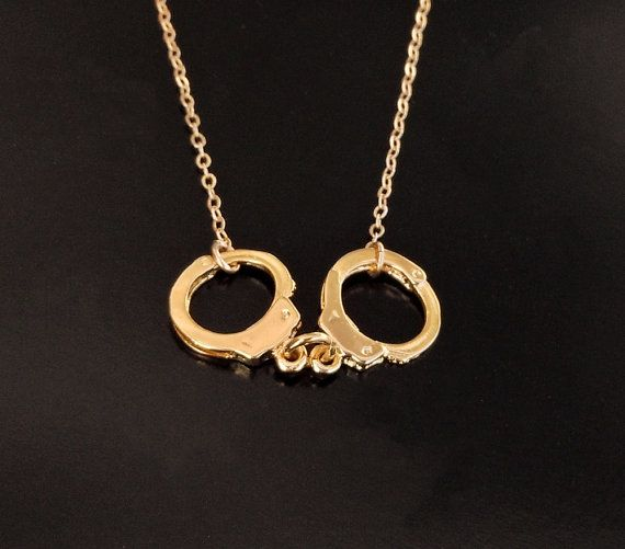 Handcuff Necklace - Kelly Ripa Style in Gold on Etsy, $45.00