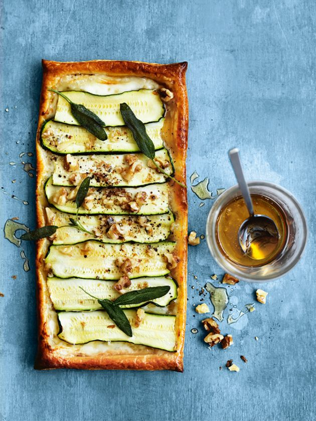 zucchini, gorgonzola, honey and walnut tarts from donna hay magazine issue 80 autumn 2015