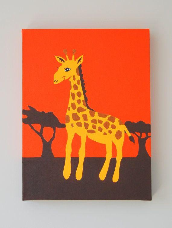 "Giraffe Nursery Art, Giraffe Painting, Safari Nursery Art, African animal, Jungle nursery decor, Kids animal art, 16"" x 12"" BOX CANVAS"