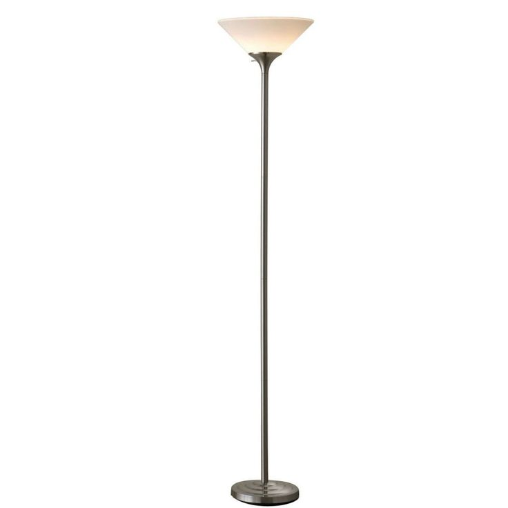 A Great Choice For Living Rooms Offices And Dens This Torchiere Floor Lamp In Brushed Steel Finish White Plastic Shade Provides Illumination Smal