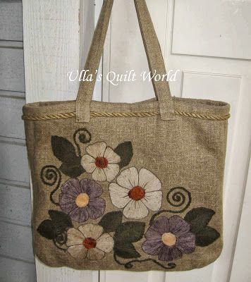 Ulla's Quilt World: Quilted applique bag, flowers flowers are made using thread painting