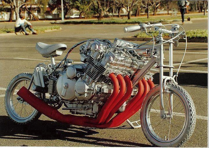 Wow a 6 cylinder engine on a bmx bike frame definitely for Little motors for bicycles