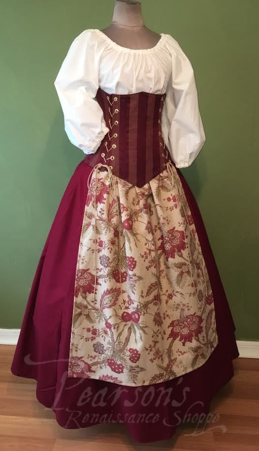 Faire Maiden - renaissance clothing, medieval, red bodice and patterned apron costume