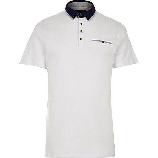 Weißes Polohemd mit Kontrastkragen - Poloshirts - Herren