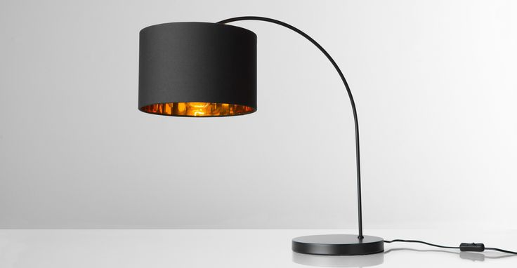 Sweep Table Lamp, Matt Black and Copper