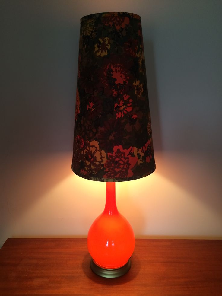 FANTASTIC MCM Lamp Italian Glass Base vibrant Orange w tall MCM Floral Lamp Shade - Tri Light 1 - base only 2 - top only 3 base and top together