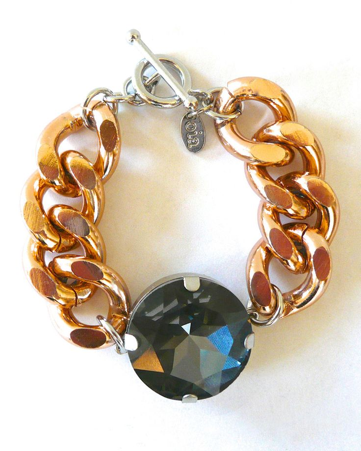 Chunky Charcoal Crystal and Chain Bracelet