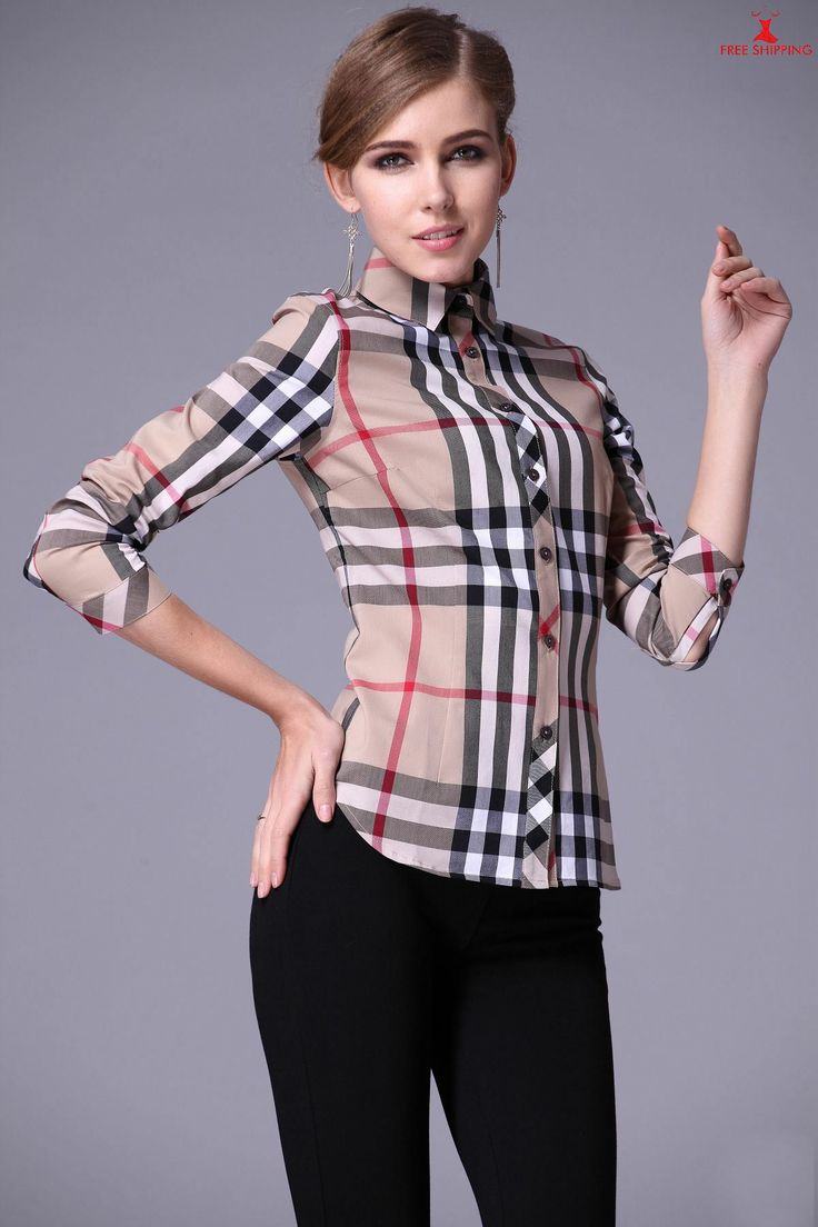 BURBERRY Womens Fitted Shirts Plaid Long Sleeves Beige ...