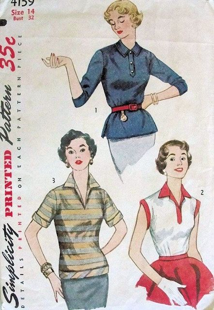 1950s Vintage Sewing Pattern 50s Over Blouse by WEAREVINTAGESEWING, $8.00