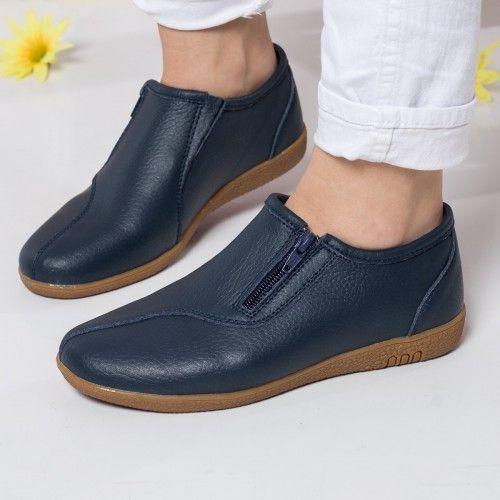 Pantofi dama Piele Keira albastri casual