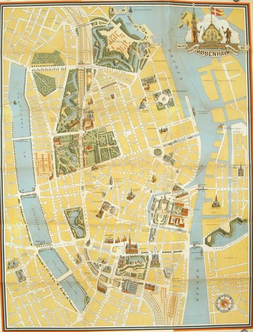Pictorial Map of Copenhagen & North-Seeland. (Maps titled: Map of Copenhagen. Old Town / Kort Over Nordsjaelland.) Link: http://www.oldimprints.com/pages/books/45901/denmark-copenhagen/monumental-kort-indre-kobenhavn-samt-nord-sjaelland-pictorial-map-of-copenhagen-north-seeland