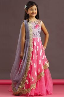 Show details for Pink & grey color saree style gown