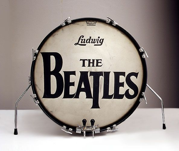 This is Ringo Starr's bass drum head. It was painted by Eddie Stokes, a sign painter who made custom drum heads for Drum City, the London shop where Ringo purchased his gear.