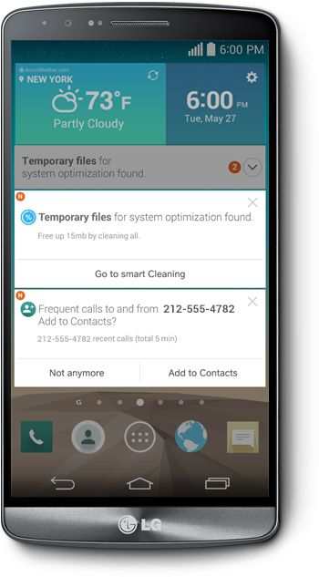 The LG G3 is a device that constantly learns and adapts to your ever-changing needs and interests, providing personalized suggestions that makes life easier and more productive. With contextual analysis, it helps you get organized, stay on task, keep in touch with friends, and won't let you miss an important event!