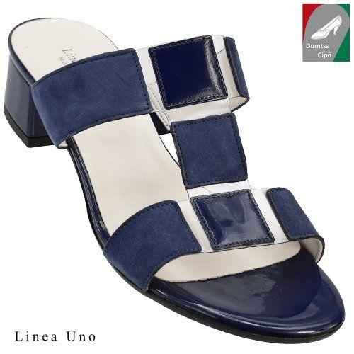 Linea Uno női bőr papucs 400 kék kombi