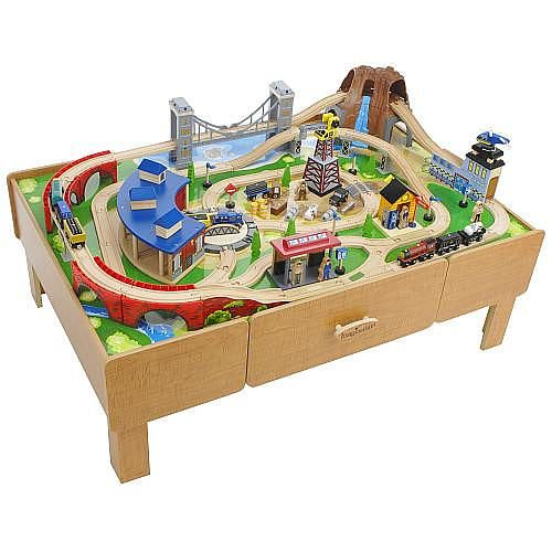 imaginarium classic train table with roundhouse wooden train set 2