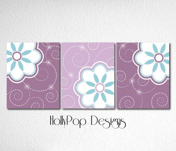 Purple Teal Nursery Decor Idea Pottery Barn by HollyPopDesigns, $36.00