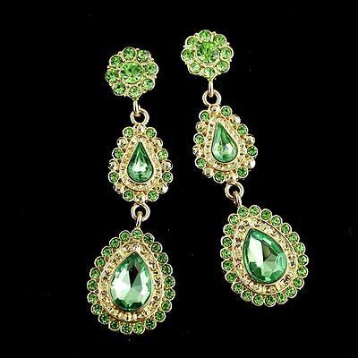 For Her: Waterdrop flower earrings  #drop #earrings #green #gold