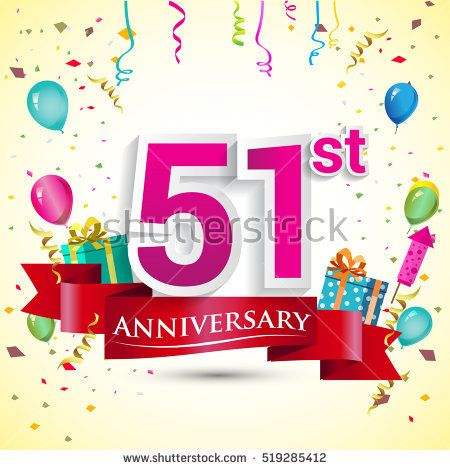 51st Years Anniversary Celebration Design, with gift box and balloons, red ribbon, Colorful Vector template elements for your birthday party.