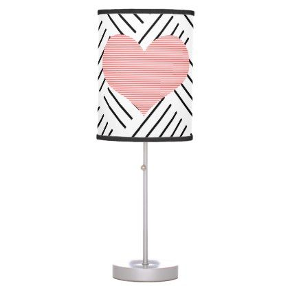 Heart - geometric  pattern - black and pink. desk lamp - home gifts ideas decor special unique custom individual customized individualized