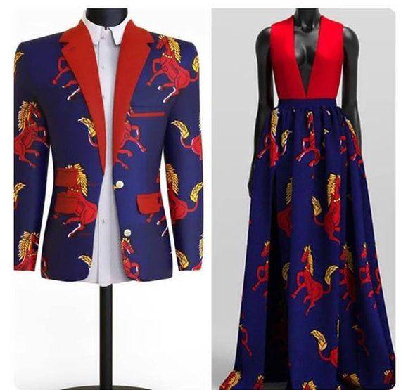 Ankara Outfit for Couples, Ankara Men's Jacket and Matching Female Ankara Dress, African Wedding Outfits
