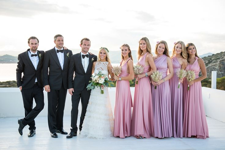 A Tiered Lace Pronovias Dress For Bohemian and Black Tie Wedding in Ibiza