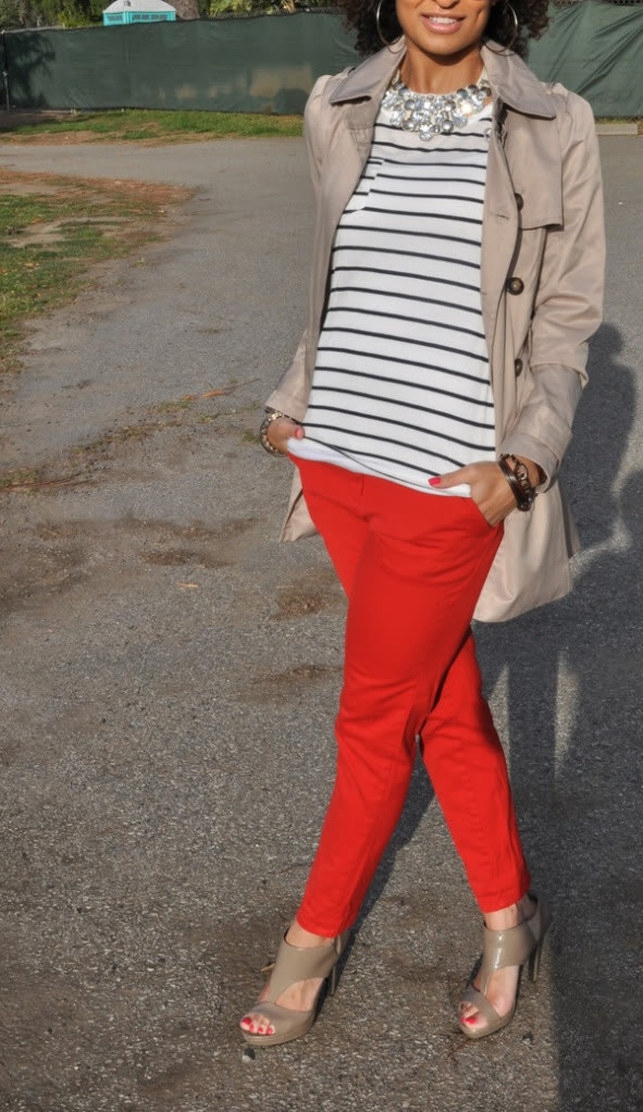 Stripes, classic trench and a pair of flaming' pants... j'adore.
