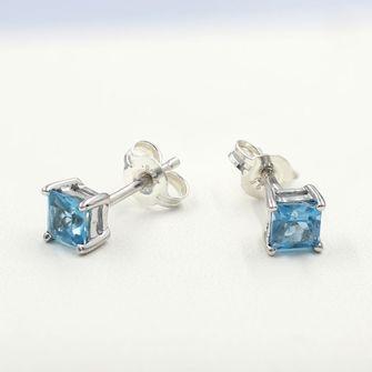 Sterling Silver Blue Topaz Earrings - BEE-33476-BT