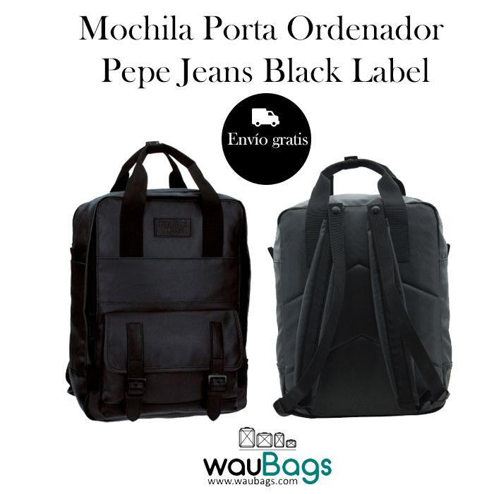 Mochila Pepe Jeans Black Label, ideal para llevar siempre contigo tu ordenador portátil de hasta 13″.   Con un compartimento principal con cremallera y un bolsillo acolchado interior para tu Tablet o Portátil de hasta 13″, además de un bolsillo delantero con solapa.  Cuenta con dos correas acolchadas ajustables y dos pequeñas asas con cierre de sujección metal popper (cierre metálico).  @waubags #pepejeans #mochila #portaordenador #portatil #tablet