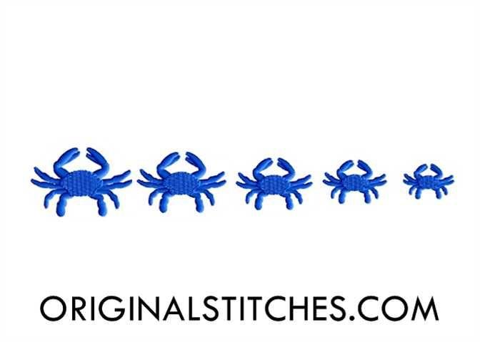 Blue Crab Mini Embroidery Design - Original Stitches