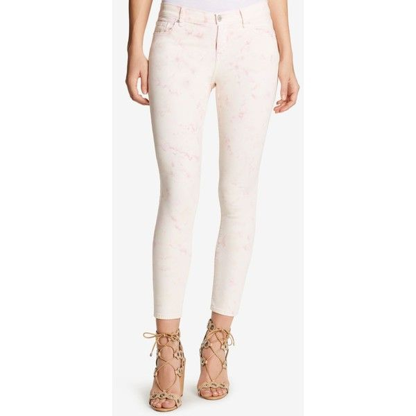 William Rast Cropped Skinny Jeans ($70) ❤ liked on Polyvore featuring jeans, peaches and cream, skinny jeans, white jeans, two tone jeans, white cropped jeans and two tone denim jeans