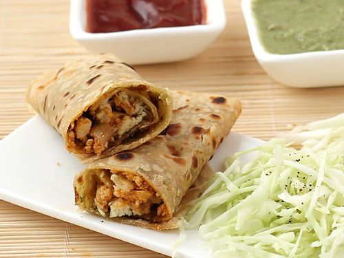 Paneer roll, a tongue tickling and spicy masala of grated or crumbled paneer wrapped in chapati or paratha, is a treat to taste buds at anytime anywhere. Paneer Wraps prepared with this recipe have stuffing of grated paneer sautéed in spicy masala.