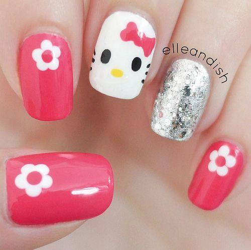 Easy Hello Kitty Nails (Freehand) Tutorial // elleandish #KidsNails