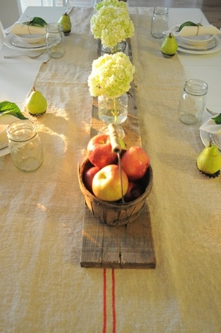 Table: Ball Jars, Centerpieces Ideas, Tables Sets, Tables Scapes, Wood Planks, Tables Centerpieces, Outdoor Parties, Fall Tables, Tables Runners