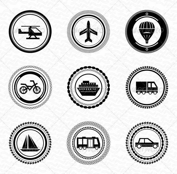 Black Retro Labels and Badges -