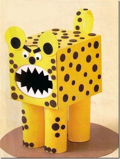 manualidades para niños, muñecos con cajas: