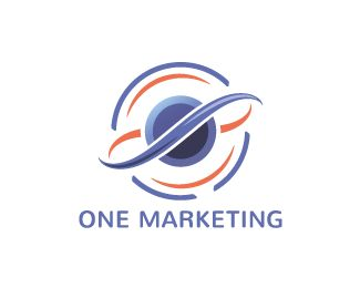 One Marketing Logo design - Clean and modern logo design for a young marketing, advertising or media company. Marketing is the unifying force between products and customers, which are illustrated by the two center lines.  <br />The two lines also form the infinite symbol. Price $300.00