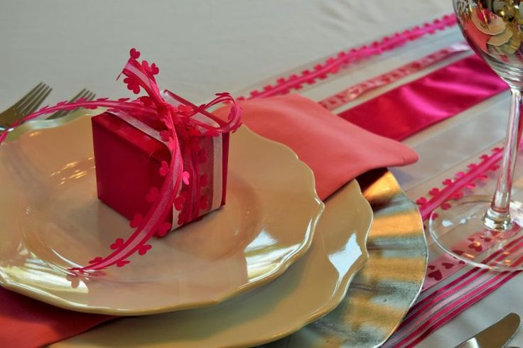 VALENTINES TABLE I used ribbon as a table runner for my Valentines Day table
