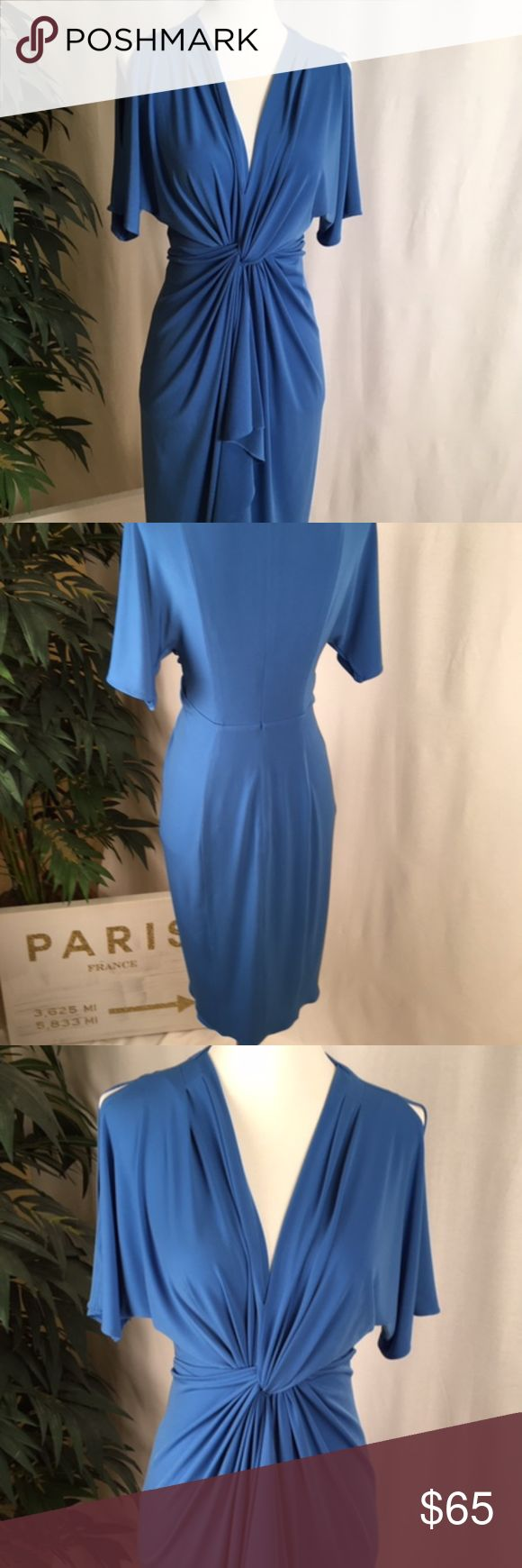 """CATHERINE Catherine Malandrino Blue Dress This Catherine Malandrino dress is in PRISTINE condition. This """"cold-shoulder"""" gathered dress is perfect worn with sandals or pumps, dressed up, or worn simply. It travels well, as I wore it once during a trip. Please notice that the shoulders are """"cut outs"""" so they are seamed at the bottom of the sleeve. The zipper/hook work properly. This is an EASY dress to wear, comfortable & moves with you.  NO smoking/pets.  Measures: Shoulder to…"""