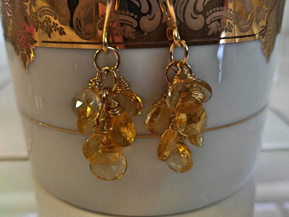 Check out 14k solid gold Citrine earrings. Chandelier dangle and drop summer earrings for her. Beautiful Yellow dangle and drop earrings. on fapianojewels