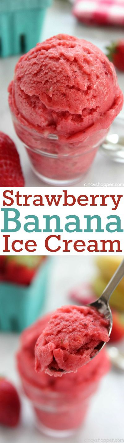Easy Strawberry Banana Ice Cream- Just 3 Simple ingredients and no ice cream maker needed for this yummy summer treat.