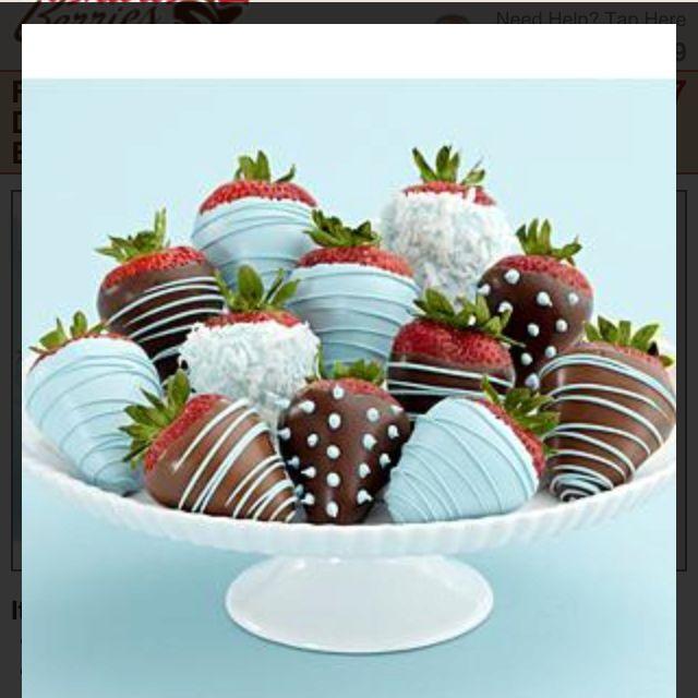 Dozen chocolate covered strawberries for baby boy shower @Shari Brown's Berries