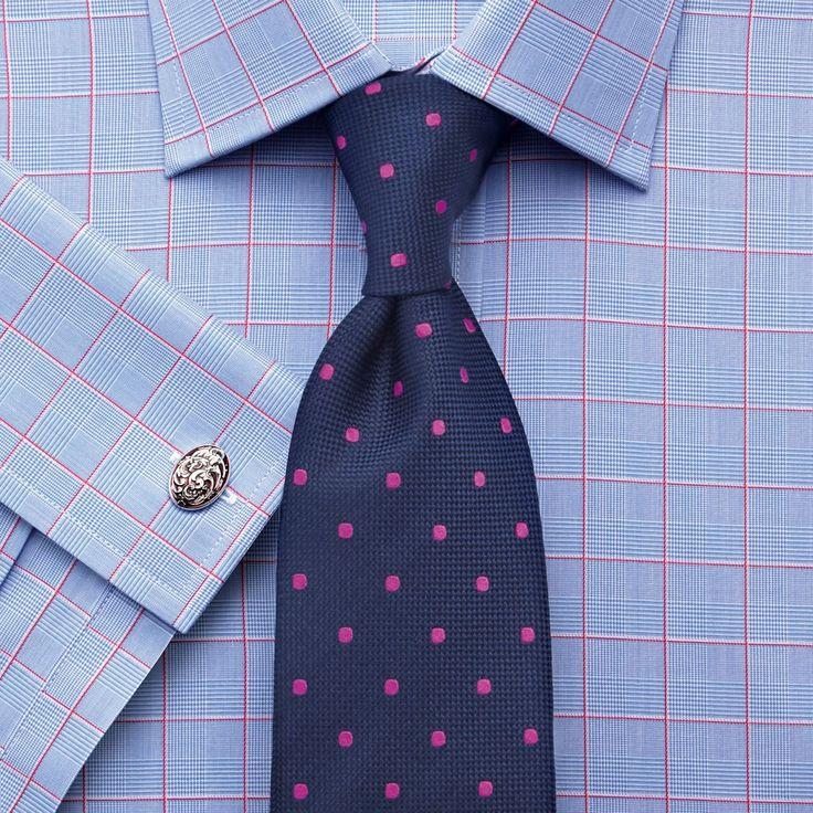 Pink satin Prince of Wales check slim fit shirt
