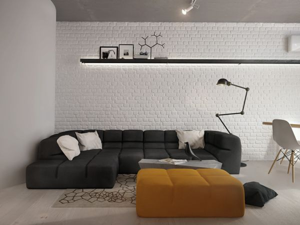 White wall painted idea with black large sofa and contemporary floor lamp also modern coffee table