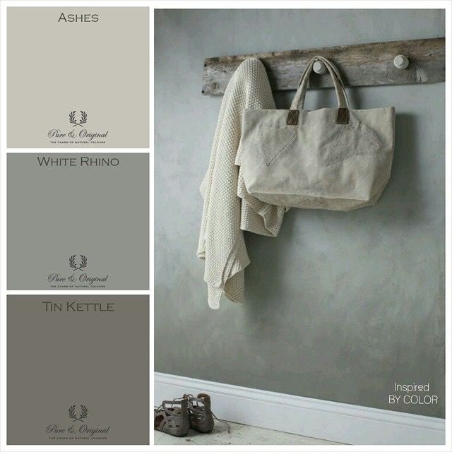 Pure & Original Moodboard from Inspired By Color of our new colors Ashes, White Rhino and Tin Kettle