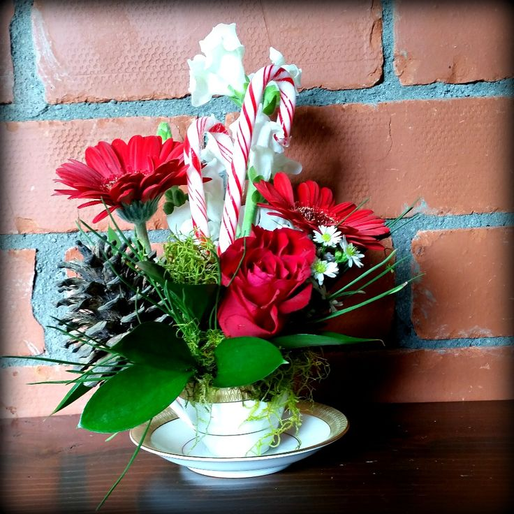 christmas Teacup flower arrangement with pine cones and